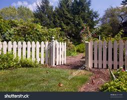 Kitchen Garden Fence White Picket Fence Gate Frame Entrance Stock Photo 83193790