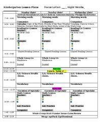 lesson plan template for kindergarten full day kindergarten lesson plan template with differentiation tpt