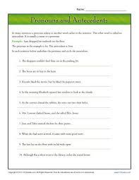 Pronoun Antecedent Agreement Pronouns And Antecedents Pronoun Agreement Worksheet