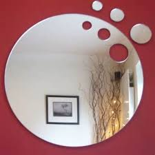 environmental laser cutting round acrylic mirror sticker oem for interior wall decoration with diffe size shape 4