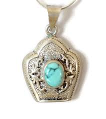 sterling silver and turquoise pendant necklace