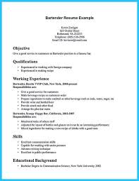 Example Bartender Resume Adorable Interested To Work As A Bartender Then You Must Make A Bartending
