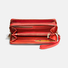 Coach Madison Accordion Saffiano Large Orange Wallets EGC  Coach Madison  Double Accordion Zip Wallet In Leather in Red