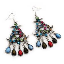 image is loading antique silver multicoloured crystal chandelier earrings 8cm length