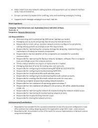 Sample Resume Network Administrator Trezvost