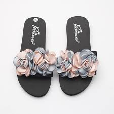 <b>3cm</b>/<b>6cm</b> Handmade Chanclas Pink Flower Slippers <b>Women</b> ...