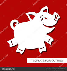 Cut Out Character Template Zoo Animal Templates Cut Out Cute Smiling Cartoon Pig Zoo