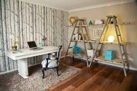 productive office space. Eclectic Home Office Idea Ladder Shelving Unit For Books White Working Table Traditional Style Productive Space