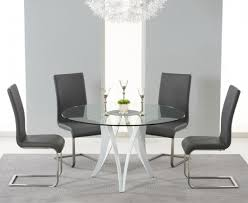 glass dining room table with leather chairs. bellevue 130cm round glass dining table with 4 malibu grey leather chairs room r