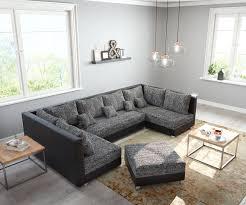 Couch Panama Schwarz Mit Hocker Wohnlandschaft Modular