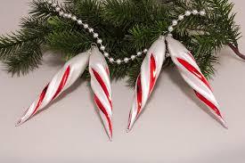 4 Eiszapfen Ca 13 X 2cm Weiß Matt Mit Rot Weihnachtskugeln Aus Glas