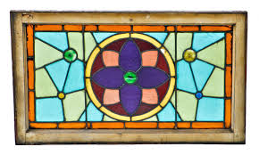 1880 s antique american victorian era residential stained glass salvaged chicago transom window with crazy quilt pattern accentuated with jewels save