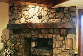 image of popular rustic fireplace mantels ideas