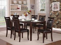 home elegance 7 pc maeve collection dark cherry finish wood dining table set with upholstered seats