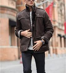 european style vintage thick warm winter long leather jacket male fur coat men suede jacket men
