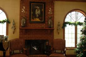 endearing red bricks color kitchen fireplace featuring square