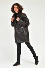 adamo man brown patent leather silky coat
