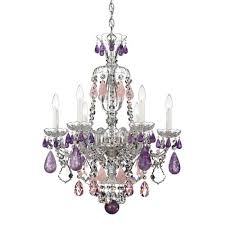 schonbek hamilton silver six light amethyst and rose rock crystal chandelier 22w x 29 5h x 22d