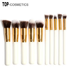 10pcs professional makeup brushes set beauty make up brush kits milk white gold handles beaute basics