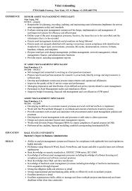 Asset Management Specialist Resume Samples Velvet Jobs