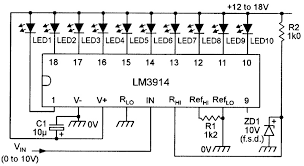led graph circuits nuts volts magazine the supply voltage to this circuit must be at least two volts greater than the zener reference voltage figure 6
