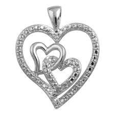 elegant 0 03 carat triple heart diamond necklace in 14k white gold plated 0