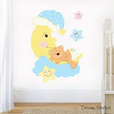 teddy bear mural wall decals moon stars cloud baby girl boy nursery art stickers