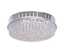 crown 12 light flush mount in chrome with crystal
