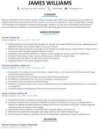 Resume Template Software Best Software Engineer Resume Example