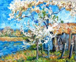 how to paint a spring landscape like the impressionists by ginger cook acrylic painting tutorialsacrylic painting lessonspainting
