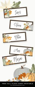 Fall Place Cards Thanksgiving Place Cards Printable Designer Blogs