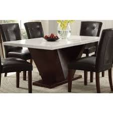 acme forbes dining table white marble walnut 72120