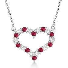 open heart diamond ruby pendant necklace 14k white gold