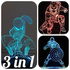 3 In 1 3d Night Lights For Kids 7 Colors 3d Led Illusion Lamp With