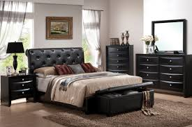 brown leather bedroom furniture. Simple Bedroom Decoration Style With Affordable Queen Size Furniture, Black Tufted Leather Headboard, Brown Furniture C