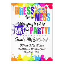Birthday Party Evites Art Paint Craft Birthday Party Invitations