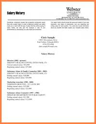 Gallery Of Resumes With Salary History