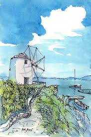 paros wind mill greece art print of watercolor painting drawing signed