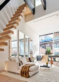 Above Stairs Neautral Apartment With Funcky Rugs How To Make A Small Room  Look Bigger