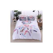 bonenjoy white bedding set king size quilt cover feather dream catcher print for girls used single bed linen duvet cover queen color type 1 size double 3pcs