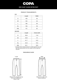 Chart Cm To Inches Size Chart Classic Retro Pant Cm Inch Copa