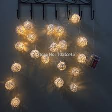 5cm big 20 rattan ball lights string battery garland fairy lights for home wedding patio indoor bedroom decoration in holiday lighting from