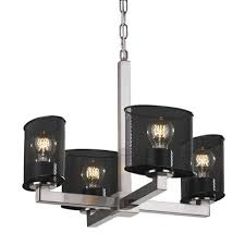 wire mesh 4 light shaded chandelier finish brushed nickel