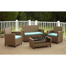 malmo 4 piece brown resin wicker patio conversation set with blue cushions