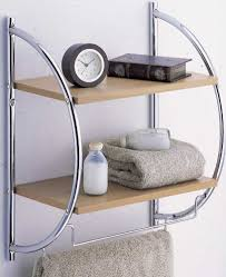 full size of bathroom an elegant glass bathroom shelf with towel bar and perfumes a