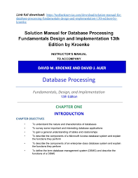 Characteristics Of A Good Database Design Solution Manual For Database Processing Fundamentals Design