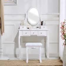 zimtown white vanity set 5 drawer makeup dressing table jewelry oval mirror desk stool walmart