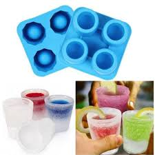 4 cup square silicone ice cube shot glass mold cool mould tray jello maker party