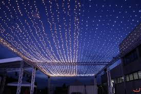 fairy lights like ceiling of stars above the dinner tables