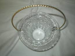 pretty mid century glass basket with metal handle pressed glass with ons pattern